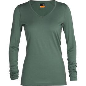Icebreaker 200 Oasis Maglietta a maniche lunghe con collo a V Donna, verde